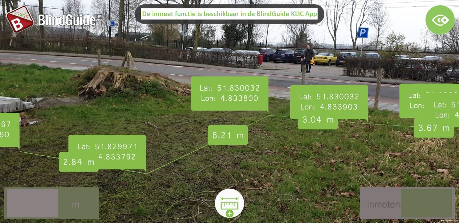 Inmeten in de BlindGuide KLIC App